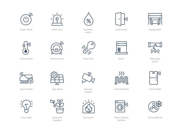 stockillustraties, clipart, cartoons en iconen met set van beroerte smart home pictogrammen - luchtvochtigheid