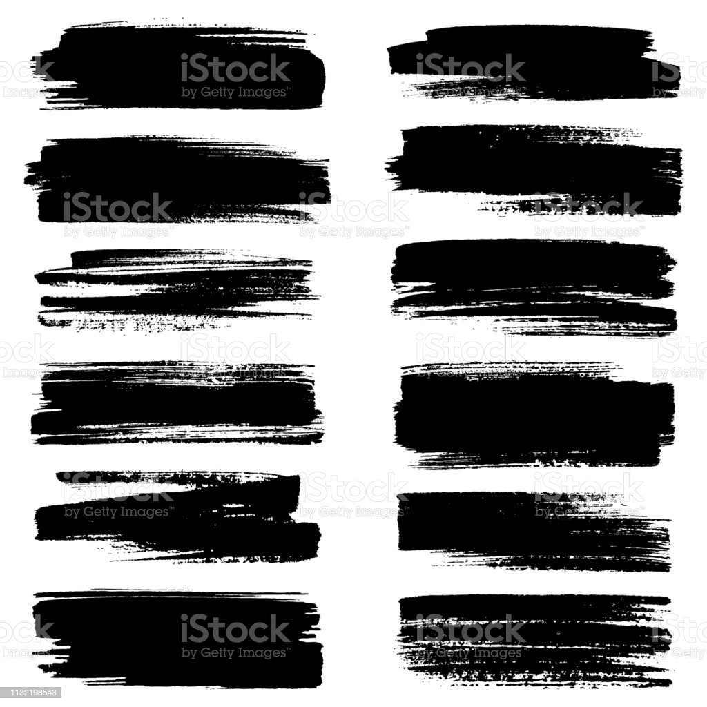 Set of strokes Set of grunge brush strokes Abstract stock vector
