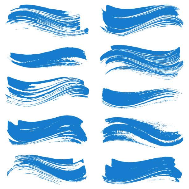 Set of strokes Set of grunge brush strokes wave pattern stock illustrations