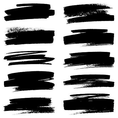 Set of grunge brush strokes