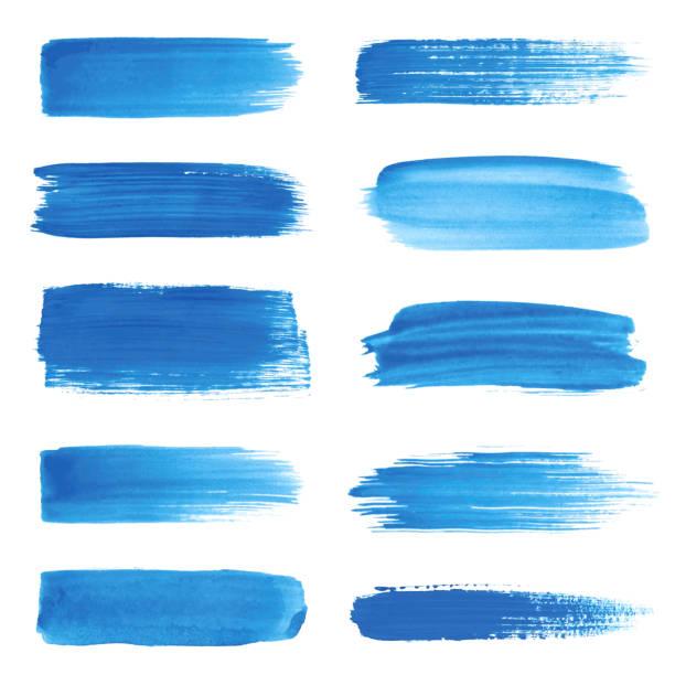 set of strokes - acrylic painting stock illustrations