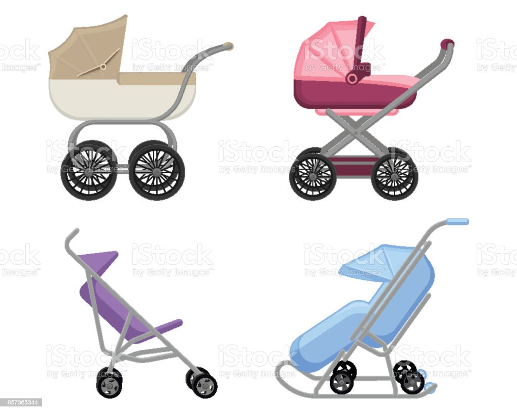 Set of strollers and prams summer and winter collections vector art illustration