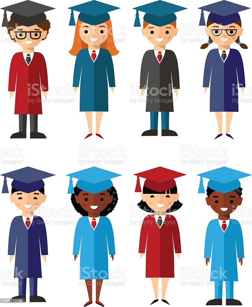Set Of Students Different Nationalities In Graduation Gown And ...
