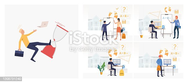 istock Set of students drawing circle on flipchart, using computer 1205731240