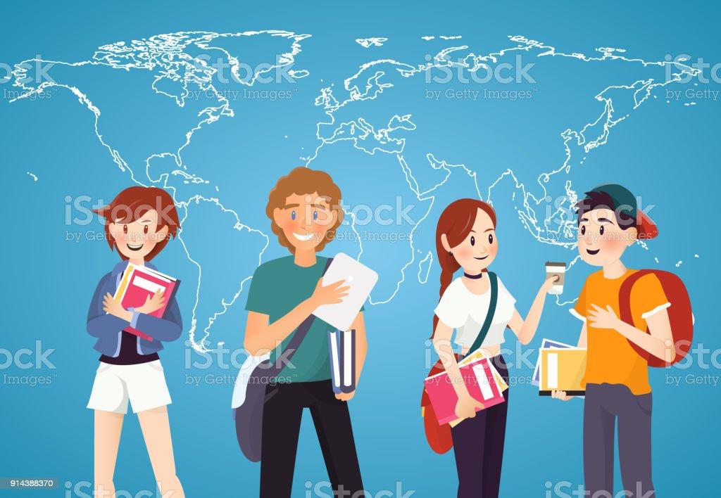 La valeur des étudiants avec des livres sur fond de carte mondial - clipart vectoriel de Adolescent libre de droits