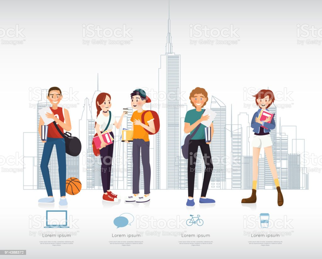 Set of students with gadgets and books for infographic vector art illustration