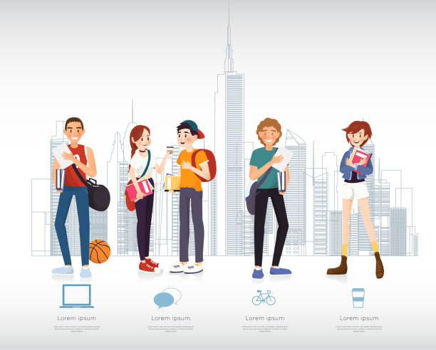 set of students with gadgets and books for infographic - high school sports stock illustrations