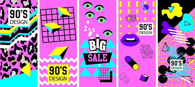Set of  style bright covers. Abstract geometric art. 90s, 80s minimalist frames design and retro hipster geometric elements. Catalog border,  brochure card. Isolated vector icons set