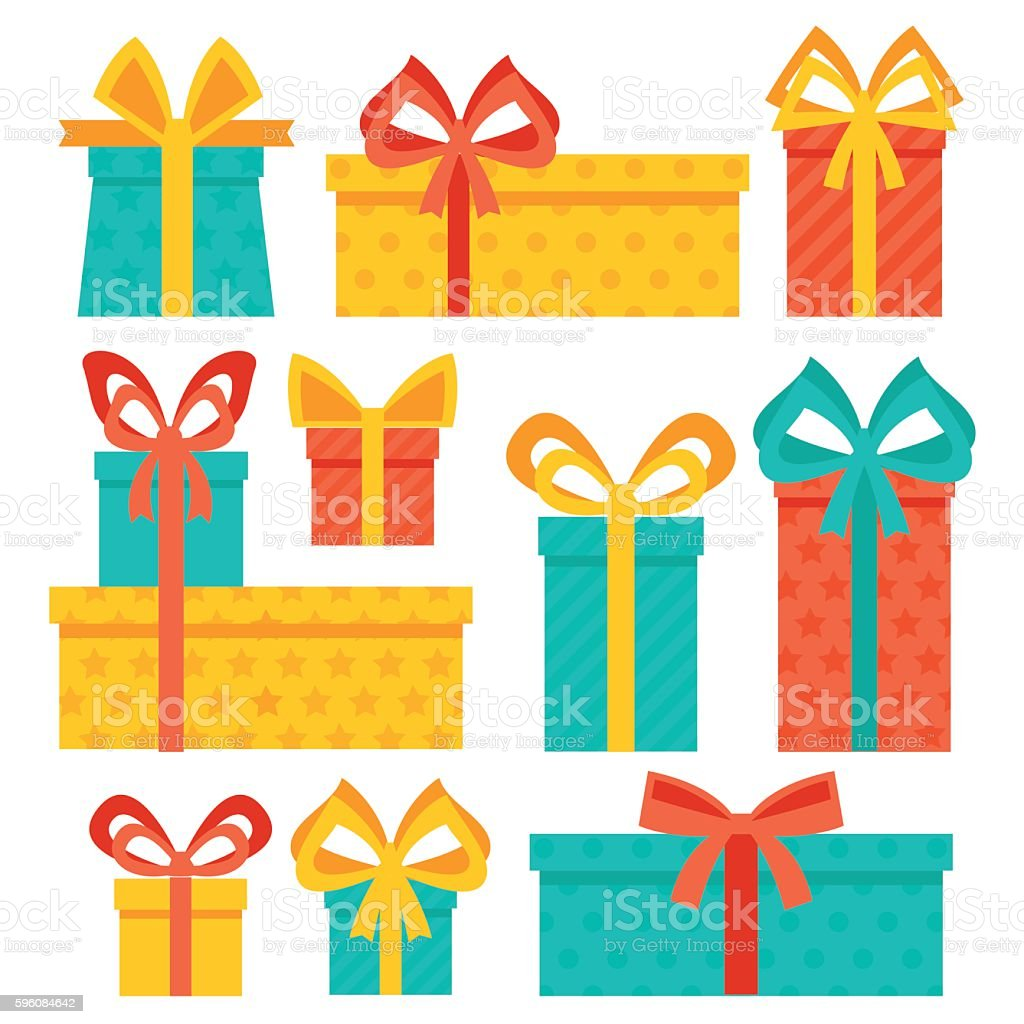 Set of stylish and colorful gift boxes. royalty-free set of stylish and colorful gift boxes stock vector art & more images of anniversary