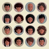 Set of stylish avatars of girls and guys in flat design. African american people app icons. Face. User. Vector illustration