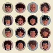 Set of stylish avatars african american people  in flat design.