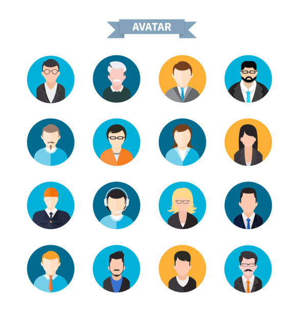 set of stylish avatars man and woman icons - old man hair stock illustrations, clip art, cartoons, & icons
