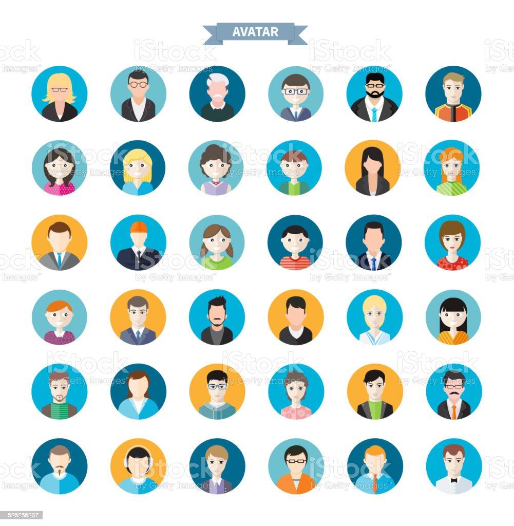Set of stylish avatars man and woman icons vector art illustration