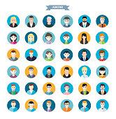 Set of stylish avatars man and woman icons