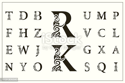 Vector illustration of Set of Stylish Capital Letters. Vintage Logos. Filigree Monograms. Beautiful Collection. English Alphabet. Simple Drawn Emblems. Graceful Style. Design of Calligraphic Insignia.
