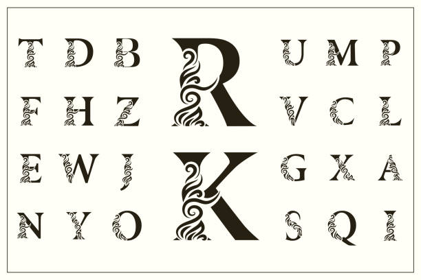 Set of Stylish Capital Letters. Vintage Logos. Filigree Monograms. Beautiful Collection. English Alphabet. Simple Drawn Emblems. Graceful Style. Design of Calligraphic Insignia. Vector Illustration Vector illustration of Set of Stylish Capital Letters. Vintage Logos. Filigree Monograms. Beautiful Collection. English Alphabet. Simple Drawn Emblems. Graceful Style. Design of Calligraphic Insignia. alphabet icons stock illustrations