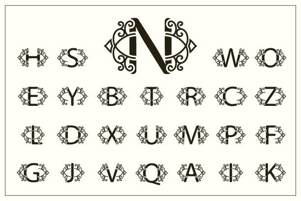 Set of Stylish Capital Letters. Vintage Logos. Filigree Monograms. Beautiful Collection. English Alphabet. Simple Drawn Emblems. Graceful Style. Design of Calligraphic Insignia. Vector Illustration Vector Illustration of Set of Stylish Capital Letters. Vintage Logos. Filigree Monograms. Beautiful Collection. English Alphabet. Simple Drawn Emblems. Graceful Style. Design of Calligraphic Insignia. k logo illustrations stock illustrations