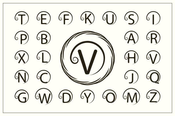 一套帶捲曲的時尚資本字母。簡單的徽標。圓形字母表。美麗的收藏。英文字母表。繪製的標誌。優雅的風格。線圖形設計, 徽章。向量插圖 - weihnachten 幅插畫檔、美工圖案、卡通及圖標