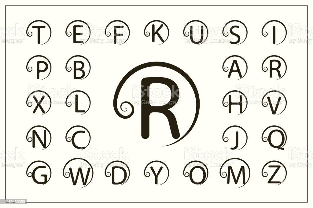 一套帶捲曲的時尚資本字母。簡單的徽標。圓形蒙狀圖。美麗的收藏。英文字母表。繪製的標誌。優雅的風格。線圖形設計, 徽章。向量插圖 - 免版稅商務圖庫向量圖形