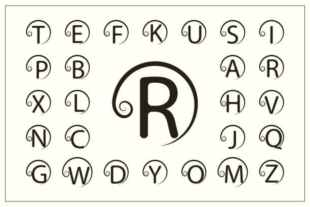 一套帶捲曲的時尚資本字母。簡單的徽標。圓形蒙狀圖。美麗的收藏。英文字母表。繪製的標誌。優雅的風格。線圖形設計, 徽章。向量插圖 - weihnachten 幅插畫檔、美工圖案、卡通及圖標