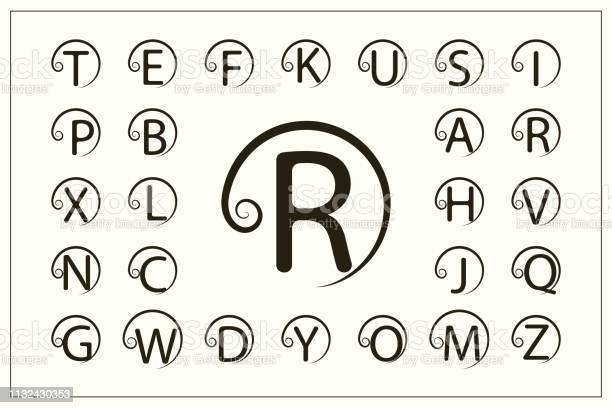 一套帶捲曲的時尚資本字母簡單的徽標圓形蒙狀圖美麗的收藏英文字母表繪製的標誌優雅的風格線圖形設計 徽章向量插圖向量圖形及更多商務圖片