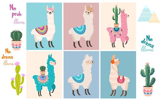 Set of stylish cartoon llamas and decorative elements. Vector illustrations.