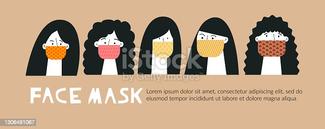 Set of stylish girls wearing color face masks Trendy fashion accessory protection from virus flu or air pollution. Women avatars. Monochrome flat cartoon vector illustration