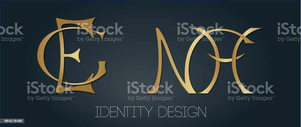 Set of stylish monograms for luxury logo design - letters GE and NH - Royalty-free Art stock vector