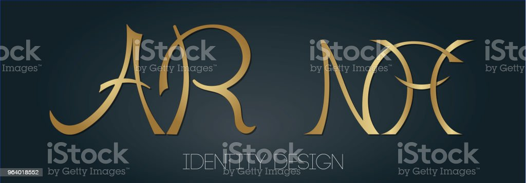 Set of stylish monograms with letters AR and NH for personal branding - Royalty-free Arkansas stock vector