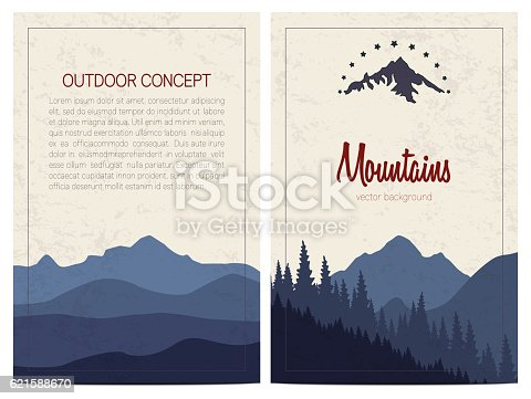 Vector backgrounds with blue mountains. Front and back page.