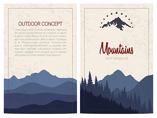 Set of stylish outdoor cards template - ilustración de arte vectorial