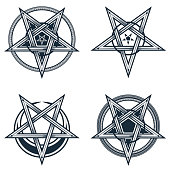 Vector illustration of satanic, occult symbols, isolated on white.