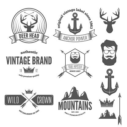 Set of stylish vintage hipster badge, modern emblem or logotype