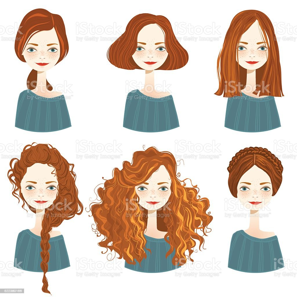 Set of stylish women's hairstyles. vector art illustration