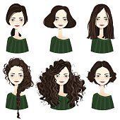 Set of six cute brunette girl characters with different hair styles on white background. Cute girls avatars. Vector illustration.