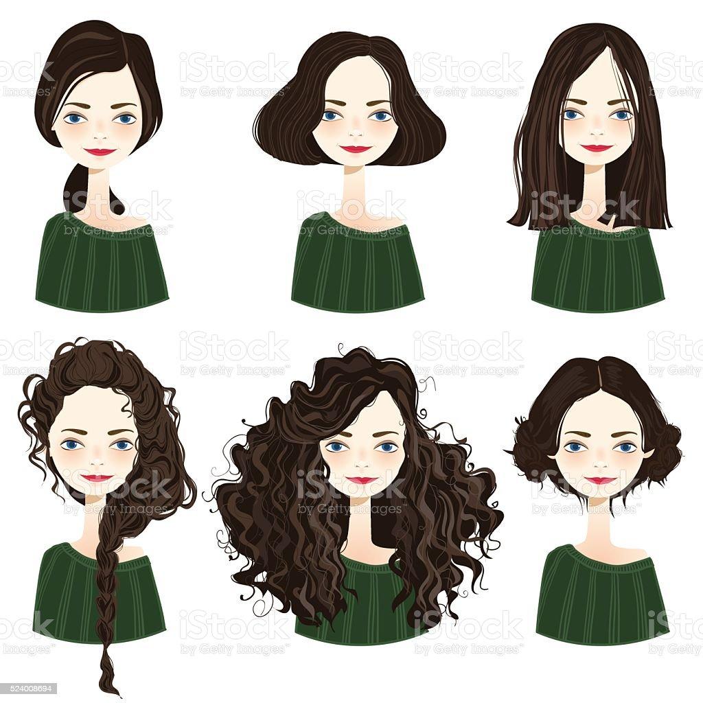 Set of stylish women's hairstyles. vector art illustration