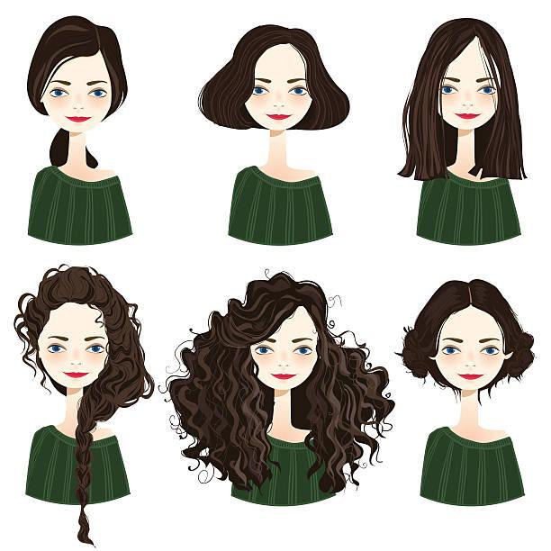 ilustraciones, imágenes clip art, dibujos animados e iconos de stock de conjunto de peinado elegante de las mujeres. - cabello largo