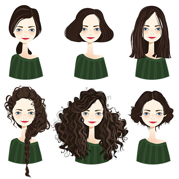 set of stylish women's hairstyles. - 捲髮 幅插畫檔、美工圖案、卡通及圖標