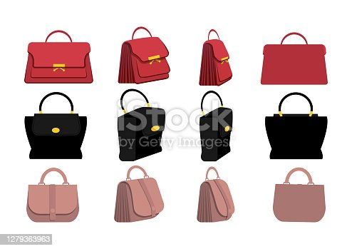 istock Set of stylish women's handbags in flat design. Front, side, back, 3-4 view character. Vector illustration 1279363963