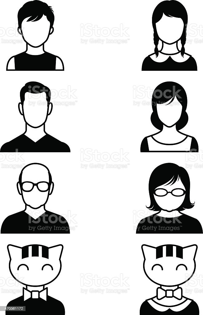 Set of stylized avatars or userpics people and cats vector art illustration