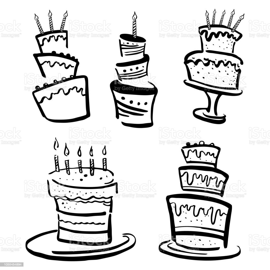 Set Of Stylized Birthday Cakes Hand Drawn Cartoon Vector Black And