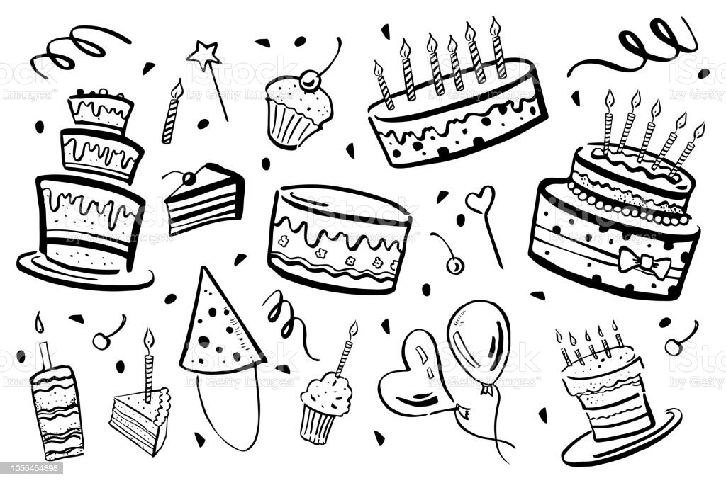 Set Of Stylized Birthday Elements Cakes Balloons And Decorations