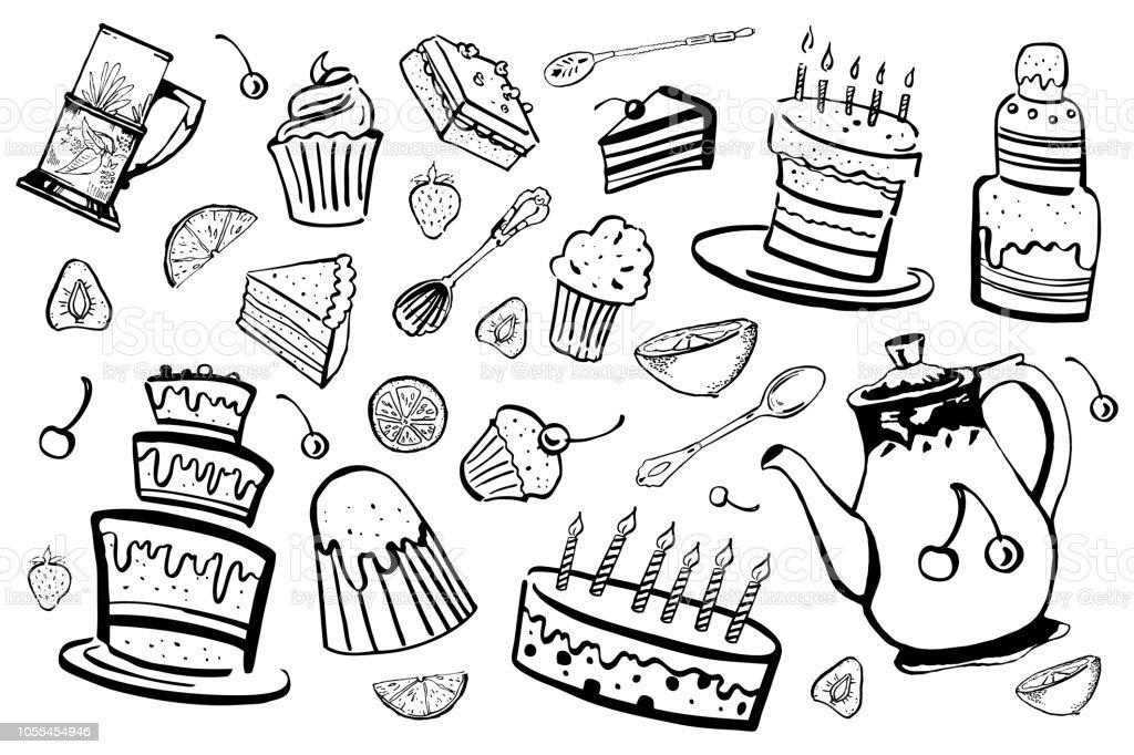 Satz Von Stilisierten Desserts Tasse Loffel Und Teekanne Hand