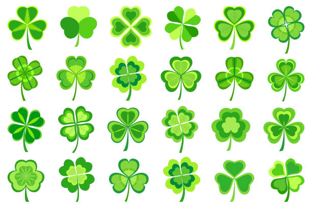 Set of stylized green Patricks leaf clover Set of stylized trendy green Patricks leaf clover isolated on white background. Beautiful elements of graphic design for St. Patrick's day. Stylish creative modern icons shamrocks. Vector illustration shamrock stock illustrations