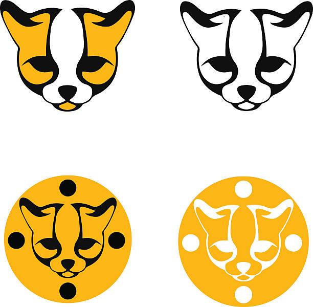 illustrazioni stock, clip art, cartoni animati e icone di tendenza di set of stylized images ocelot head - ocelot