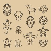 set of stylized native american symbols