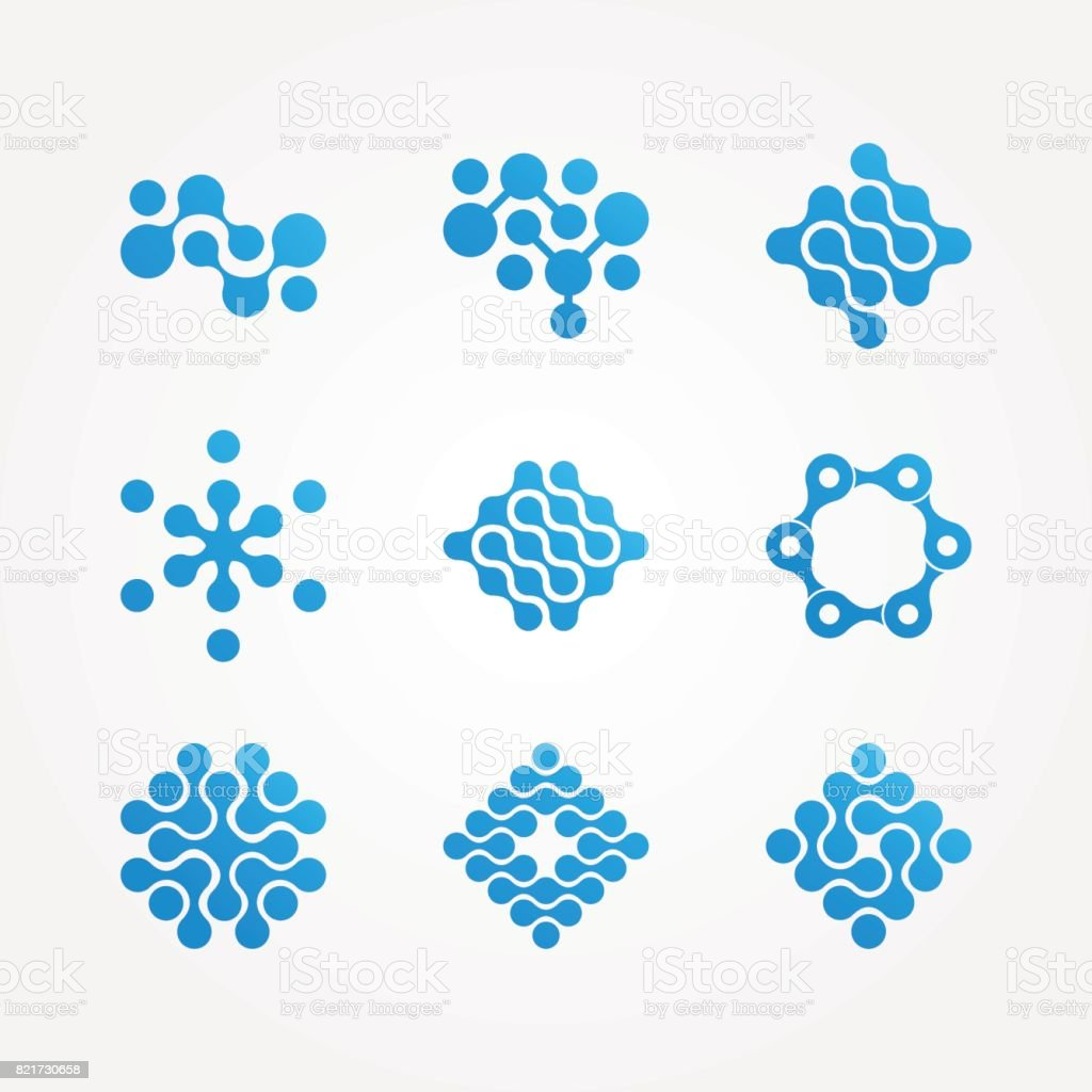 set of stylized neuron molecular health icon, - illustrazione arte vettoriale
