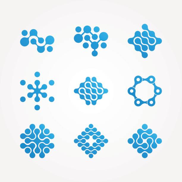 set of stylized neuron molecular health icon, vector art illustration