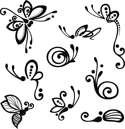 Set of Stylized Ornamental Insects