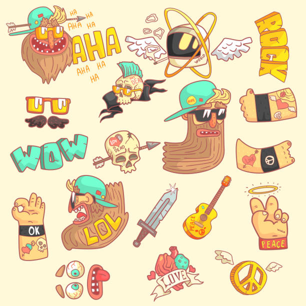 Set Of Stylized Rock Themed Stickers Set Of Stylized Rock Themed Stickers With Cool Symbols In Hand Drawn Flat Vector aha stock illustrations
